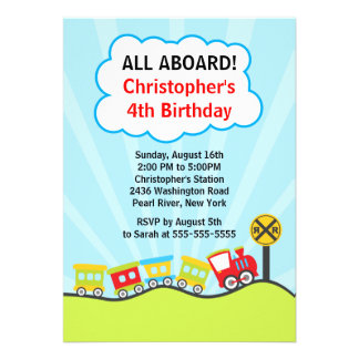 Cute Trains Birthday Party Invitation