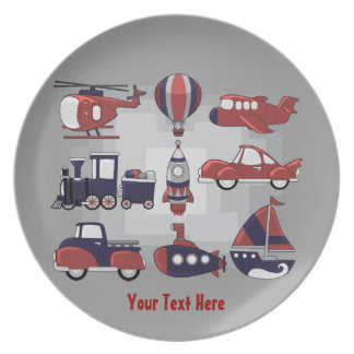 Cute Transport Personalized Party Plates