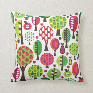 Cute tree apple pear and flower retro pattern throw pillow