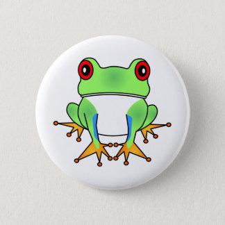 Cute Tree Frog Cartoon Button