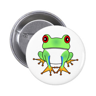 Cute Tree Frog Cartoon Button