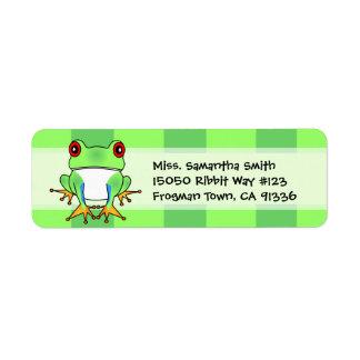 Cute Tree Frog Green Stripe Return Address Labels