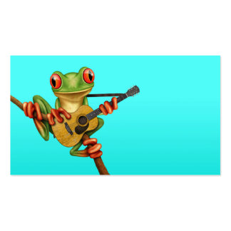 Cute Tree Frog Playing an Acoustic Guitar Blue Business Cards
