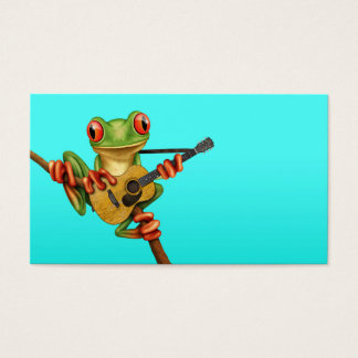 Cute Tree Frog Playing an Acoustic Guitar Blue Business Card