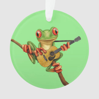 Cute Tree Frog Playing an Acoustic Guitar Green