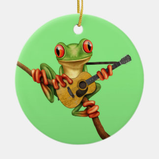 Cute Tree Frog Playing an Acoustic Guitar Green Double-Sided Ceramic Round Christmas Ornament