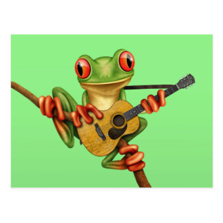 Cute Tree Frog Playing an Acoustic Guitar Green Postcard
