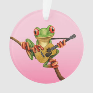 Cute Tree Frog Playing an Acoustic Guitar Pink Ornament