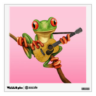Cute Tree Frog Playing an Acoustic Guitar Pink Wall Decal