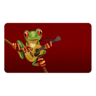 Cute Tree Frog Playing an Acoustic Guitar Red Business Card Templates