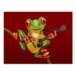 Cute Tree Frog Playing an Acoustic Guitar Red Postcard