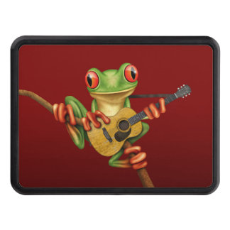 Cute Tree Frog Playing an Acoustic Guitar Red Trailer Hitch Cover