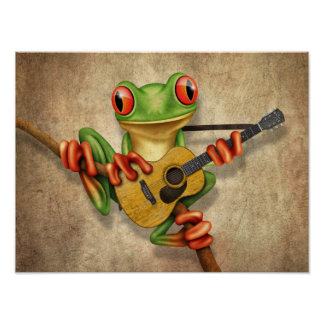 Cute Tree Frog Playing an Acoustic Guitar Rough Poster