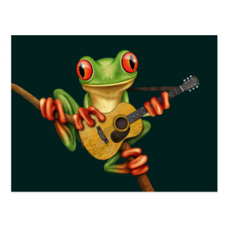 Cute Tree Frog Playing an Acoustic Guitar Teal Postcard
