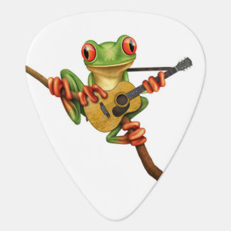 Cute Tree Frog Playing an Acoustic Guitar White Guitar Pick