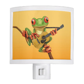 Cute Tree Frog Playing an Acoustic Guitar Yellow Night Light