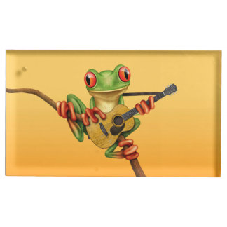 Cute Tree Frog Playing an Acoustic Guitar Yellow Place Card Holder
