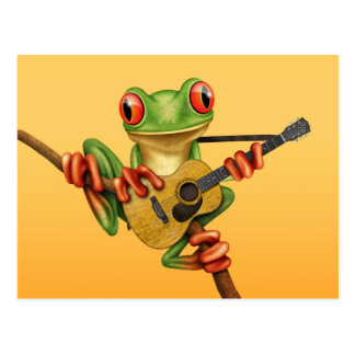 Cute Tree Frog Playing an Acoustic Guitar Yellow Postcard