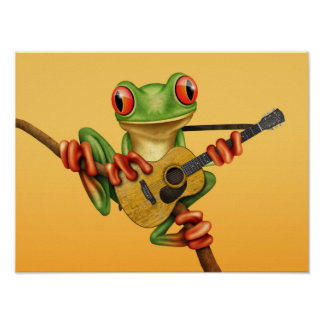 Cute Tree Frog Playing an Acoustic Guitar Yellow Poster
