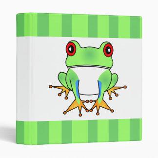 Cute Tree Frog Striped Binder