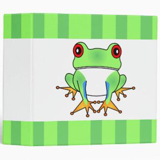 Cute Tree Frog Striped Large Binder