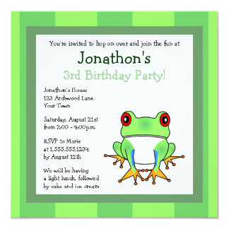 Cute Tree Frog w/ Stripes Birthday Invite
