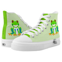 Cute Tree Frogs in the Grass High-Top Sneakers