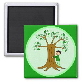 Cute Tree Hugger Design 2 Inch Square Magnet