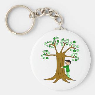 Cute Tree Hugger Design Basic Round Button Keychain