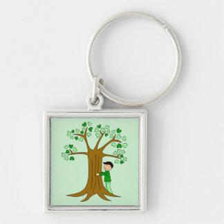 Cute Tree Hugger Design Silver-Colored Square Keychain