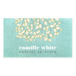Cute Tree Leaves Light Turquoise Linen Look Double-Sided Standard Business Cards (Pack Of 100)