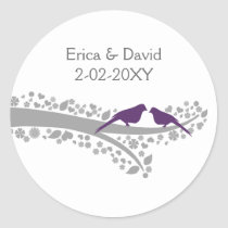 cute tree purple lovebirds wedding favor stickers