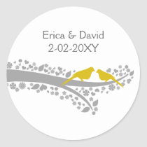 cute tree yellow lovebirds wedding favor stickers