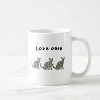 Cute trendy abstract cats classic white coffee mug