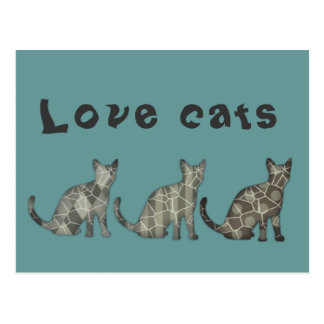Cute trendy abstract cats postcard