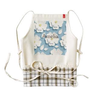 Cute,trendy,baby blue,floral,3de,white,girly,fun, zazzle HEART apron