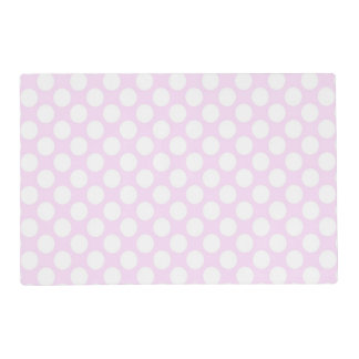 Cute Trendy Baby Pink White Polka Dots Pattern Placemat