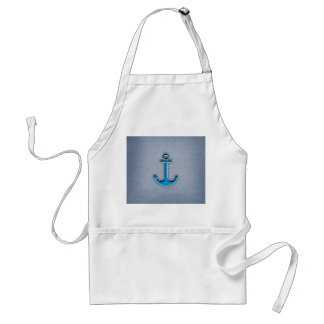 Cute Trendy Blue Paper Heart Anchor Adult Apron