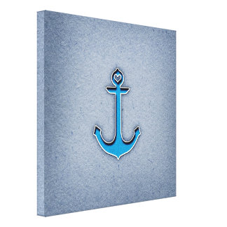 Cute Trendy Blue Paper Heart Anchor Gallery Wrap Canvas