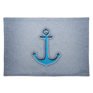 Cute Trendy Blue Paper Heart Anchor Cloth Placemat