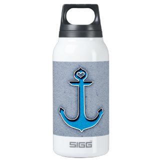 Cute Trendy Blue Paper Heart Anchor Insulated Water Bottle