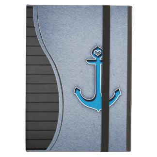 Cute Trendy Blue Paper Heart Anchor iPad Air Cover