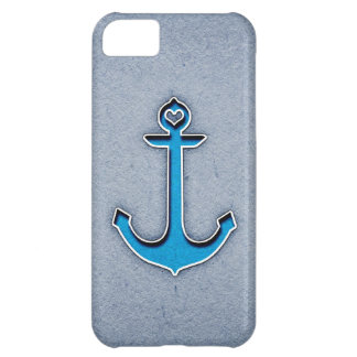 Cute Trendy Blue Paper Heart Anchor iPhone 5C Cases