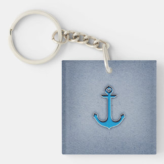 Cute Trendy Blue Paper Heart Anchor Keychain