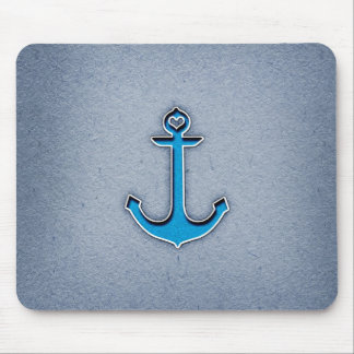 Cute Trendy Blue Paper Heart Anchor Mouse Pad