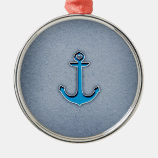 Cute Trendy Blue Paper Heart Anchor Round Metal Christmas Ornament