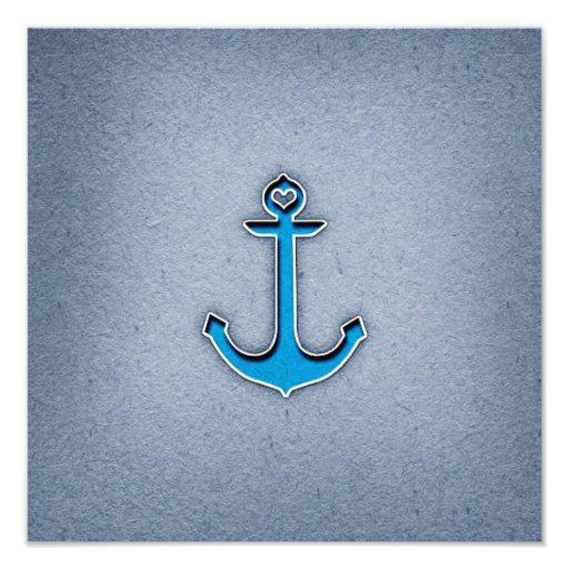 Cute Trendy Blue Paper Heart Anchor Photograph