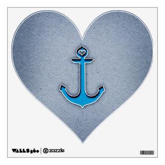 Cute Trendy Blue Paper Heart Anchor Wall Skins
