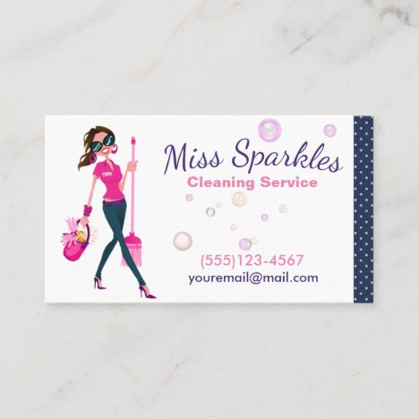 Cute Trendy Cartoon Maid House Cleaning Services Business Card