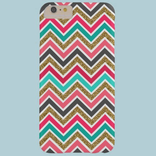 Cute trendy chevron faux glitter zigzag pattern barely there iPhone 6 plus case